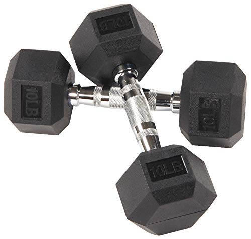 Sporzon! Rubber Encased Hex Dumbbell, Pair, Black