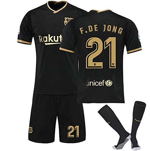 CFLL FC Barcelona Messi #10 Home Soccer T-Shirts Jersey, Football Jersey for Mens and Kids, Short Sleeve Jersey T Shirt Top/Shorts/Kids Sock,F.de Jong 21,22