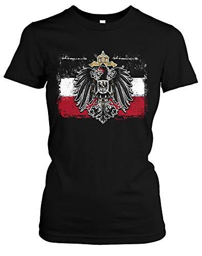 Old School Flag Kaiserreich Damen Girlie T-Shirt | Fussball Rom Italy Trikot Retro WM EM (L)