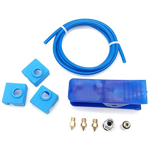 Monland 3D Printer Parts DIY Kit Ender-3/Cr-10S Teflon Tube MK8 Nozzle High Temperature Silicone Cover 3D Accessories Blue