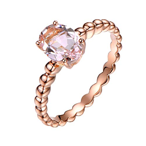 Ubestlove Mens Gold Rings 18Ct Solid 30Th Wedding Anniversary Gifts Oval Morganite 1.2Ct Ring 1.2Ct O 1/2