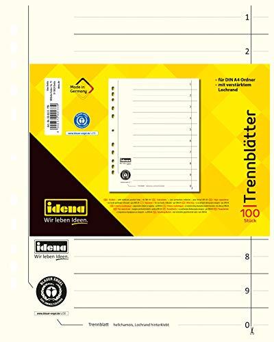 Idena 300231 - Trennblätter DIN A4, aus Karton, 190 g/m², hellchamois, 100 Stück