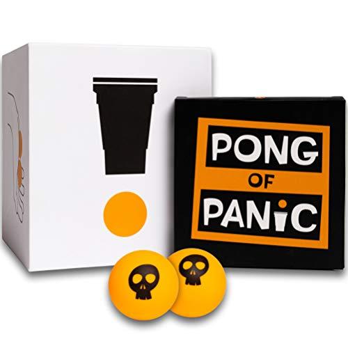 PONG OF PANIC - Beer Pong Trinkspiel - Witzige Aufgaben unter jedem Becher - Partyspiel, Saufspiel für Festival und Partys