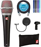 sE Electronics V7 Supercardioid Vocal Dynamic Handheld Microphone Bundle with Blucoil 10-FT Balanced XLR Cable, Pop Filter Windscreen, and 5-Pack of Reusable Velcro Cable Ties
