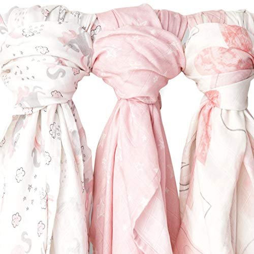 Muslin Swaddle Blankets 3 Pack Large 47x47in Baby Blanket Mystical