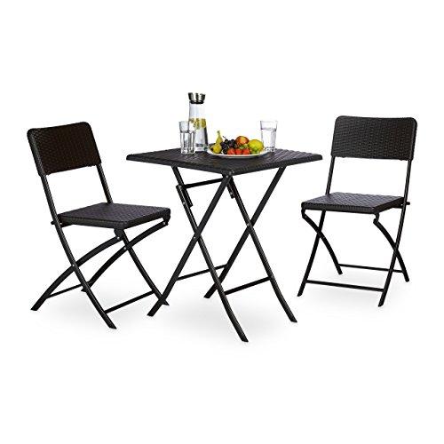 Relaxdays Ensemble Meubles de Jardin Bastian Lot de 3: 1 carrée 2 Pliables Terrasse Balcon Camping Pliant Table 74 x 61,5 x 61,5 cm Chaise (H x l x P) 82 x 44 x 50 cm, Marron, 61,5x61,5x74 cm