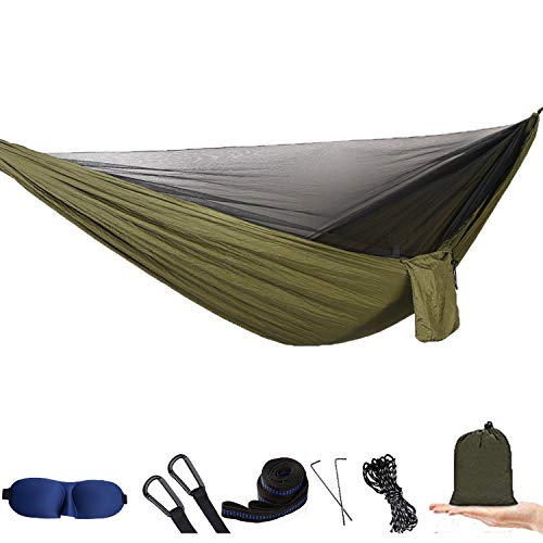 Camping Hammock with Mosquito Net - Portable Hammock and Double Hammock Bug Net for Outdoor Hiking Campin Backpacking Travel (Army Green with Mosquito Net)