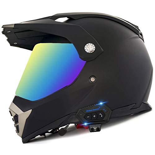 Casco De Motocross ATV Integral Auricular Bluetooth Integrado Visera Solar Doble Casco De Motocicleta Todoterreno Casco De Bicicleta De Montaña Al Aire Libre De Carrera Aprobado ECE 23,M(57-58cm)