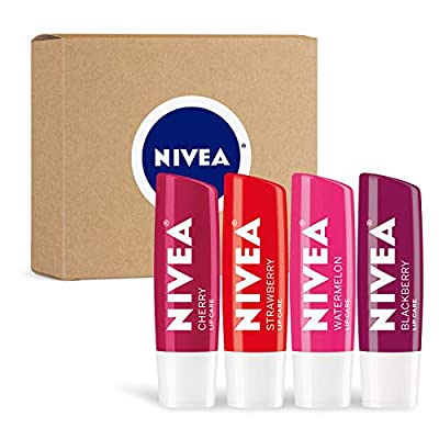 NIVEA Lip Variety Pack - Fruit Flavors With A Touch Of Color - 4 Pack