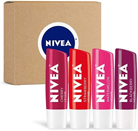 NIVEA Lip Care Fruit Variety Pack Tinted Lip Balm for Beautiful Soft Lips Pack of 4 product image