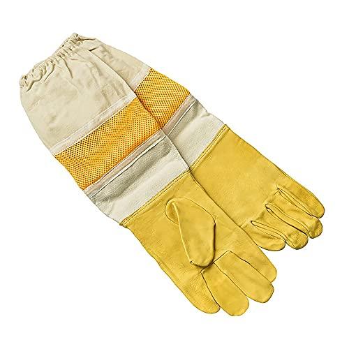 Gobesty Imkerhandschuhe, Imkerhandschuhe Bienenzucht Handschuhe aus Ziegenleder mit belüftetem Langen Ärmel für den Anfänger Beekeeper, Männer, Frauen, Bienen (33 * 14.5cm)