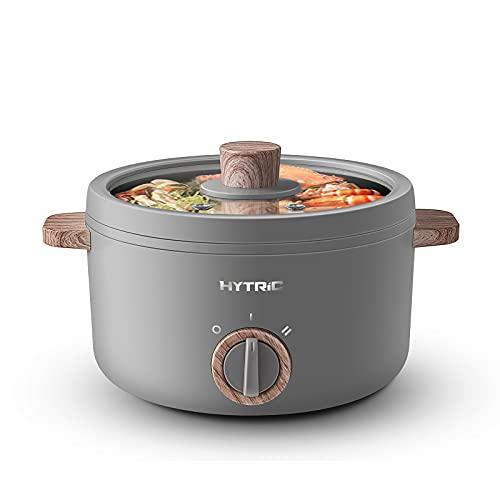 Hytric Hot Pot, 1,5 l, mini olla eléctrica para shabu, Stir Fry, pasta, filetes, olla eléctrica antiadherente para asar, olla de cocción Ramen con control dual de potencia para residencias y oficinas