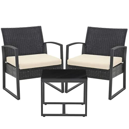 SONGMICS 3-Piece Patio Set Outdoor Patio Furniture Sets, PE Rattan, Outdoor Seating for Bistro Front Porch Balcony, Easy to Assemble, 2 Chairs and 1 Table, Black and Beige GGF010M02