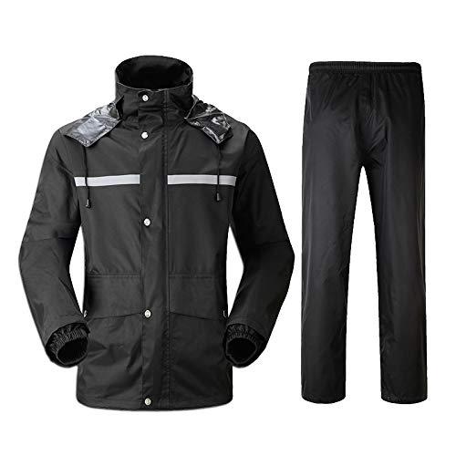 DNSJB Regenanzug für Herren Regenbekleidung (Regenjacke und Regenhosen-Set) Erwachsene mit Kapuze Outdoor Arbeit Motorrad Golf Angeln Wandern (Größe : L)