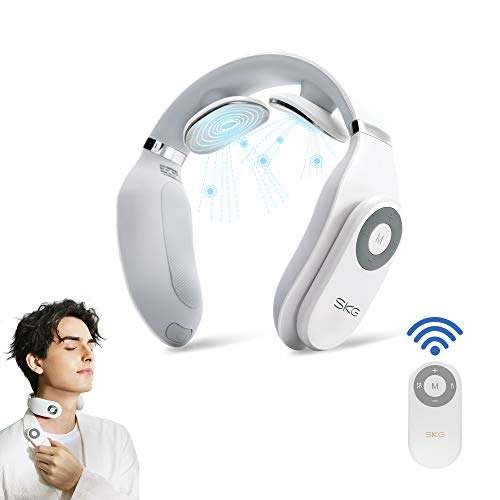 SKG Smart Neck Massager with Heat Portable Massage Equipment with Remote Control Cordless Design (White)