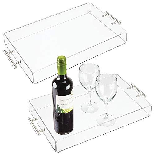 mDesign - Dienblad in 2-delige set - theeblad - voor het serveren van ontbijt, kaas, snacks en meer - klein/met roestvrijstalen handvatten/stijlvol - groot - doorzichtig