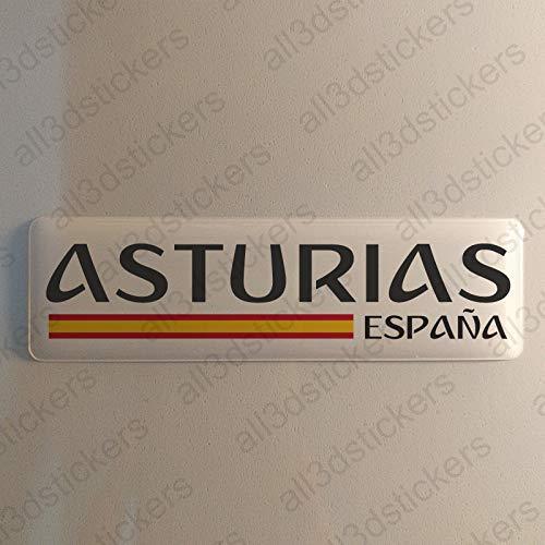 Pegatina Asturias España Resina, Pegatina Relieve 3D Bandera Asturias España 120x30mm Adhesivo Vinilo