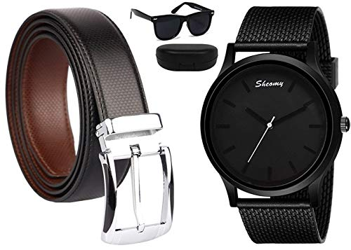 Sheomy Reversible PU-Leather Formal Black/Brown Belt For Men free watches and sunglasses (Color-Black/Brown) belt for men, formal belt, gift for gents, Gents belt, mens belt (Belt-002)