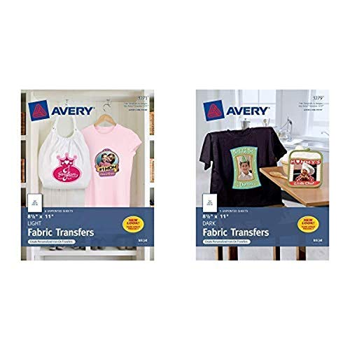 Avery Printable T-Shirt Transfers, For Use on Light Fabrics, Inkjet Printers, 6 Paper Transfers (3271) AND Avery Printable T-Shirt Transfers, For Use on Dark Fabrics, Inkjet Printers