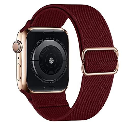Odoukey Banda de Nylon Correas de Reloj Compatible con iWatch 42mm 44mm Ajustable reemplazo Estiramiento Pulsera de Claret