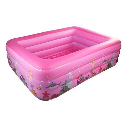 Yowablo Kinder aufblasbarer Pool Aufblasbare Badewanne Kinder Sommer Wasser Spaß Spielen (1.3M,Rosa)