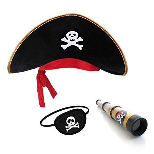papapanda Kinder Piratenhut Augenklappe Karibik Kapitän Fernrohr Set
