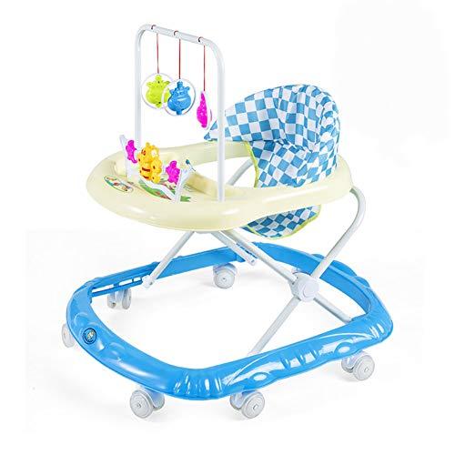 YOLL Multi-Funcional Andador bebé, con música antivuelco Andador, Anti-O-Pierna del bebé Walker, Altura Ajustable del bebé Andadores,para Chicos, Chicas 6-18Months del niño,Azul