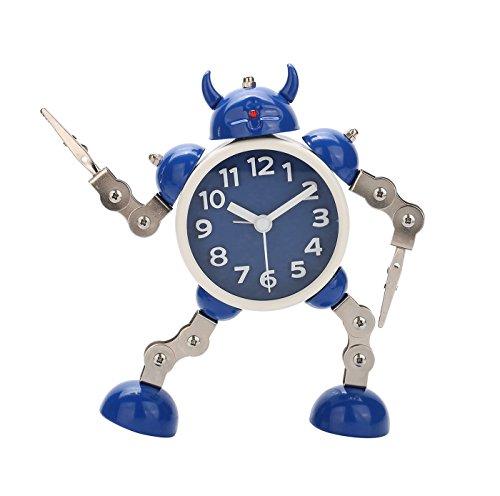 Modern Robot Kids Alarm Clock -Analog Time Silent Light Clock with Flashing Eye and Hand Clip