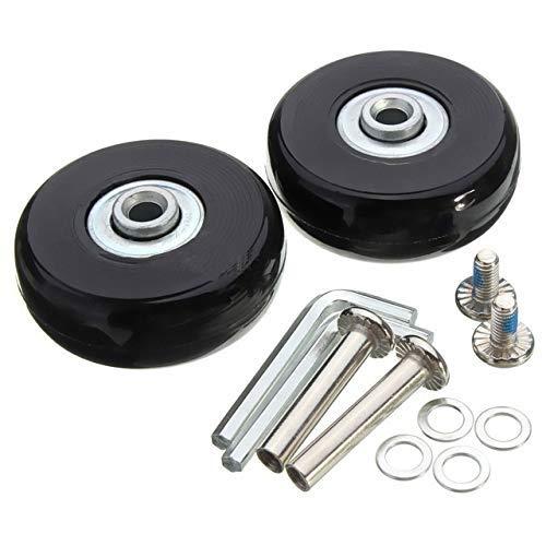Heinside Sicher 2 Stück Black 2 Set-Gepäck-Koffer Ersatzrad Koffer Reparatur OD 50mm Achsen Deluxe Schwarz mit Schraube (Farbe: 1) Hohe Festigkeit (Color : 1)