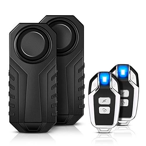 Motorrad Fahrrad Alarm,YBLNTEK 2er-Pack 113 dB Drahtlose Fahrrad Alarmanlage Mit Fernbedienung, Diebstahlsichere Vibration zubehör IP55 Wasserdicht für e Scooter/ebike/Tür- und Fenstersicherheit