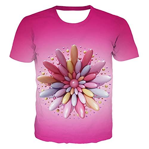 DREAMING-Verano 3D Remolino Colorido impresión Digital Casual Pareja de Manga Corta Camiseta Cuello Redondo Jersey Top XXL