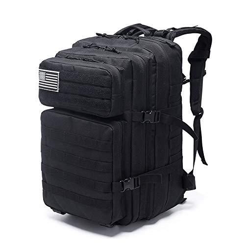 Yuefensu Mochila Impermeable Unisex for el Alpinismo de Acampada Negra 600D Mochila de Ataque de Supervivencia Militar de Oxford Mochila de Senderismo de Viaje (Color : Black, Size : One Size)