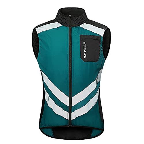 WOSAWE Fahrradjacke MTB Winddicht Regenfest Leichte Sportjacke mit Reflektorstreifen für Motorrad Rennsport Reiten, Unisex, BL208-Q-2XL, BL208 Navy, XXL