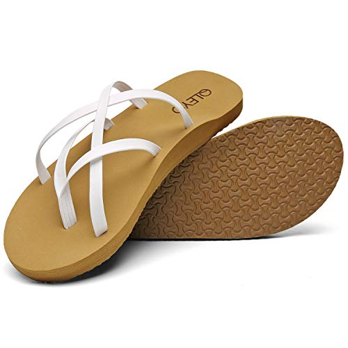 QLEYO Arch Support Flip Flops for Women, Soft Mat Foam Sandal, Strap Thong Shoes for Travelling/Beach/Pool/Party QLTX04-1-W34-9