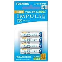 TOSHIBA ニッケル水素電池 充電式IMPULSE スタンダードタイプ 単4形充電池(min.750mAh) 4本 TNH-4ME4P