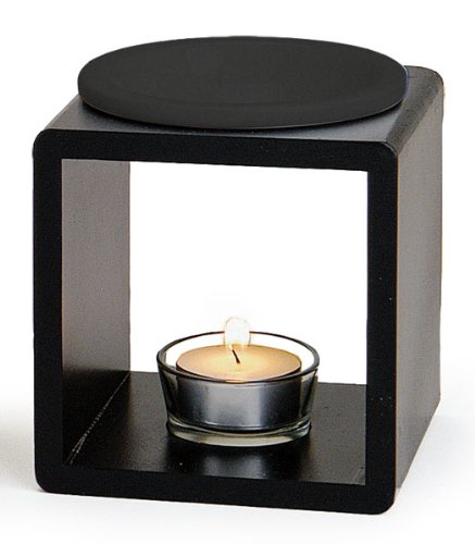levandeo Duftlampe Farbe: Schwarz - Holz + Keramik - Aromalampe Aromaspender für Duftöl/Duftwachs