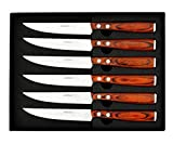 Premium Steak Knives Set of 6 in Gift Box - Polished...