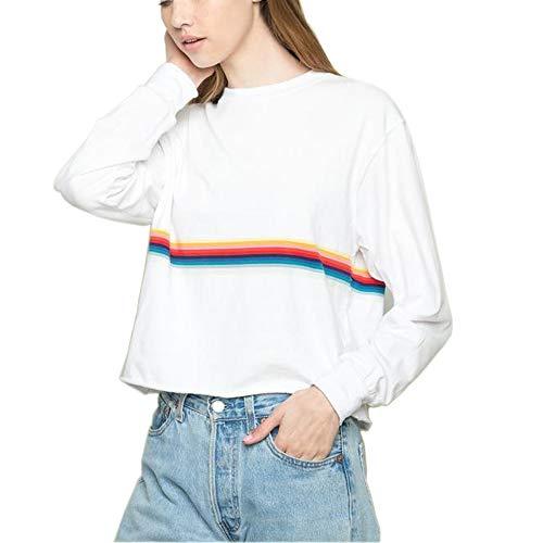 Regenbogen Gestreift Sweatshirts Damen Beiläufig Weiße Bauchfrei Langarmshirt Pullover Pullis Frauen Teenager Mädchen (Weiß, Medium)