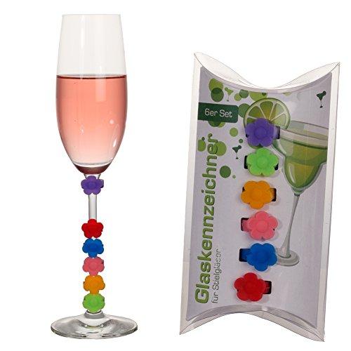 Cepewa Glasmarkierer Set Glasmaker 6 TLG Blume Glasmarkierungen für die Party