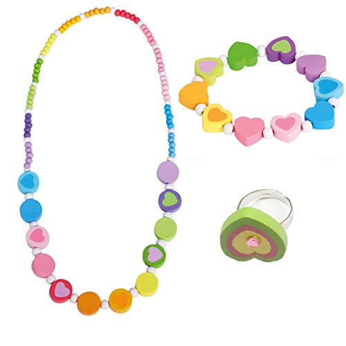 Bino 3 TLG. Set Holzschmuck Mädchenschmuck Kinderschmuck Motiv Regenbogen - Halskette Armband Regenbogen Herz Ring