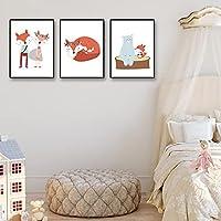 """抽象的な素敵なカワイイフォックスベア漫画のキャンバスは、壁のアートポスターを印刷し、子供のための壁の写真を印刷します部屋の装飾19.6"""" x 27.5""""(50x70cm)フレームなし×3"""