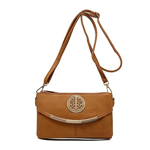 SALE NEW Womens Small Clutch Bags with Wristlet and Long Adjustable Strap,Adjustable strap With Purse or small Shoulder bag (Tan)