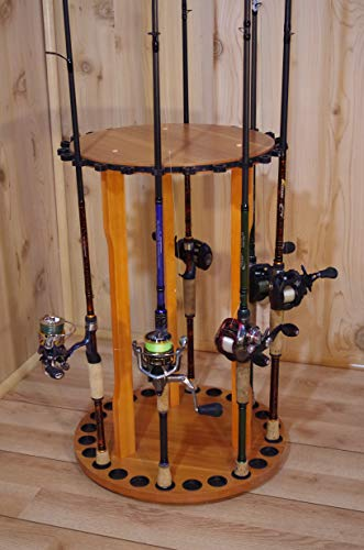 Old Cedar Outfitters Spinning Floor Rack for Fishing Rod Storage, Holds up to 24 Fishing Rods, Oak Finish, BPSP-024, 24 Rod