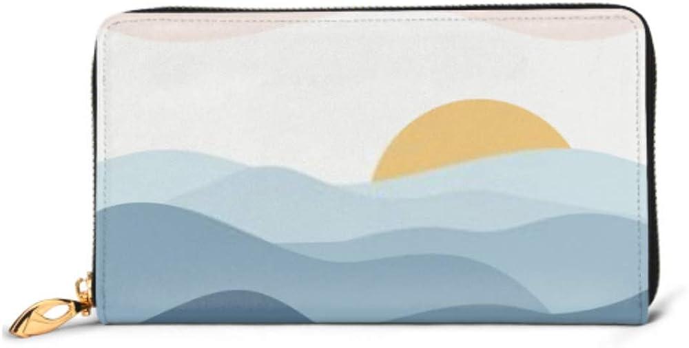 Fashion Handbag Zipper Wallet Minimalist Vector Illustration Calm Indigo Mountain Phone Clutch Purse Evening Clutch Blocking Leather Wallet Multi C