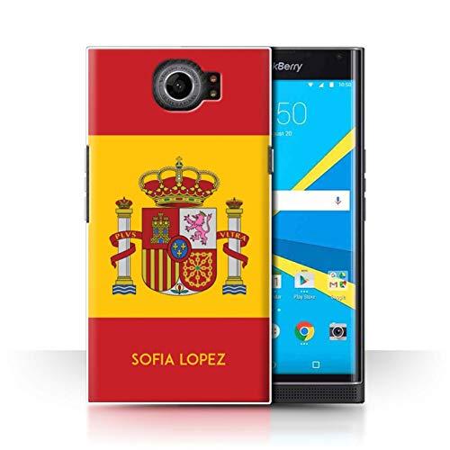 eSwish Personalizado Bandera Nacional Nación Personalizar Funda para el Blackberry Priv/Español/De/España Diseño/Inicial/Nombre/Texto Carcasa/Estuche/Case