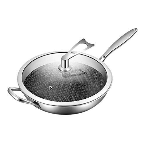 XXDTG Wok de acero inoxidable, antiadherente Stir Fry Pan con tapa, resistente a arañazos, apto for lavavajillas