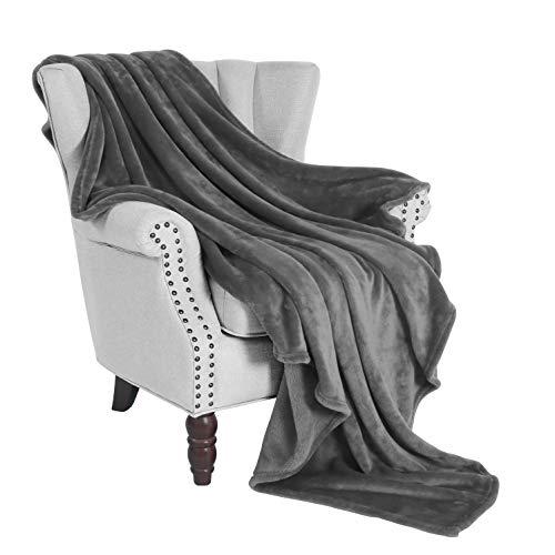 "Exclusivo Mezcla Soft Flannel Fleece Velvet Plush Throw Blanket – 50"" x 60"" (Grey)"