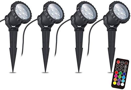 COVOART RGB Luci da Giardino, 12W Faretti da Giardino a LED con telecomando, lampada da esterno RGB da giardino IP66 impermeabile,illuminazione per vialetti, illuminazione per esterni