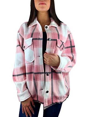 Worldclassca Damen OVERSIEZED KARO Hemd HEMDJACKE KARIERT HOLZFÄLLERHEMD LANGARMHEND MIT Brusttaschen HEMDBLUSE Bluse Shirt Designer Blogger NEU S-L 36-42 (L, Muster 1)