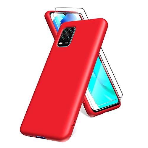 Oududianzi Hülle für Xiaomi Mi 10 Lite 5G, Panzerglas Bildschirmschutzfolie, weiche TPU Flüssigsilikonhülle, stoßfestem Gummi Silikongel Fall-Rot